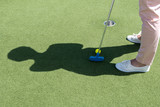 Middle-aged woman playing Golf on artificial turf