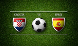 Football Match schedule, Croatia vs Spain, flags of countries and soccer ball - 3D rendering - 233231333