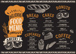 Bakery food menu template for restaurant with chefs hat lettering. - 233232321