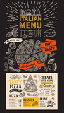 Pizza menu for italian restaurant. Vector food flyer for bar and cafe. Design template with vintage hand-drawn illustrations. - 233232354