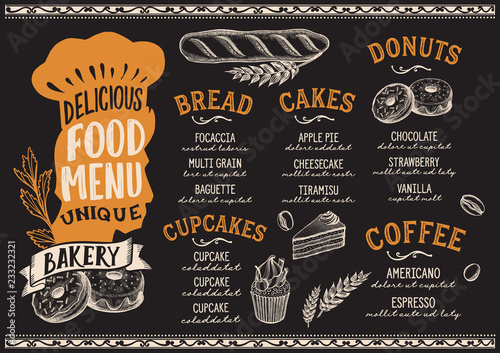 Wall mural Bakery food menu template for restaurant with chefs hat lettering.