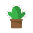Cactus cartoon character angry on white background icon