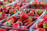 Fresh Strawberries at a Produce Stand