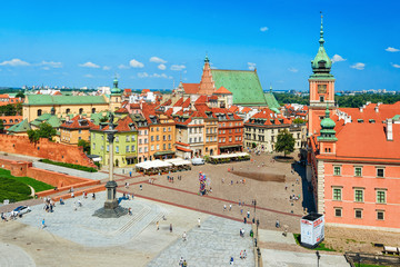 Aerial view of Sigismund Column at Castle Square in Warsaw