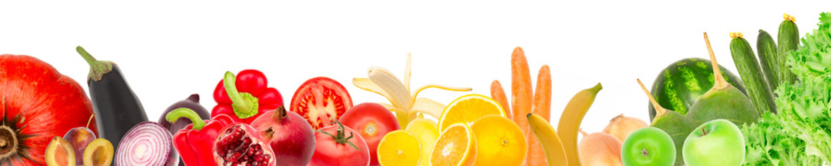 Wide collage of fresh fruits and vegetables for layout isolated on white background. banana, pomegranate, radish, watermelon, apple, orange, carrot, onion, tomato, pepper and pumpkin. Copy space