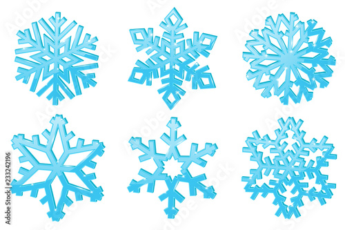 Snowflakes. Set of blue 3d winter symbols
