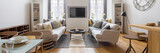 Modern living room with tv - 233244153