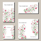Floral spring templates with flowers. For romantic and easter spring design, announcements, greeting cards, posters, advertisement. © Sergey Khamidulin