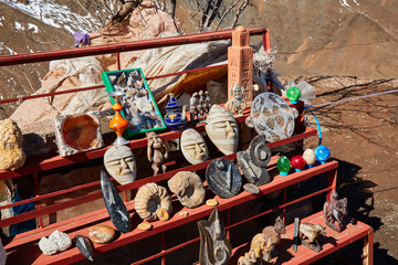 Souvenirs stand on the side of the road. Atlas Mountains, Morocco