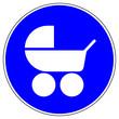 Leinwandbild Motiv nsrb3 NewSignRoundBlue nsrb - german - Kinderwagen willkommen - english - baby stroller / carriage / buggy - blue xxl g6768