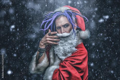 Leinwanddruck Bild santa with bright dreadlocks