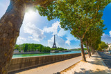 Eiffel tower seen from seine river on a sunny day