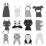 Black and white set of cute animals. Childish graphic. Vector hand drawn illustration. - 233262745