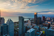 Aerial view looking at the south shore of Chicago Illinois with beautiful clouds in the sky during the morning sunrise