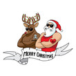 Cartoon Santa Claus and reindeer muscle man with naughty and nice tattoos. Eps10 vector illustration. - 233264584