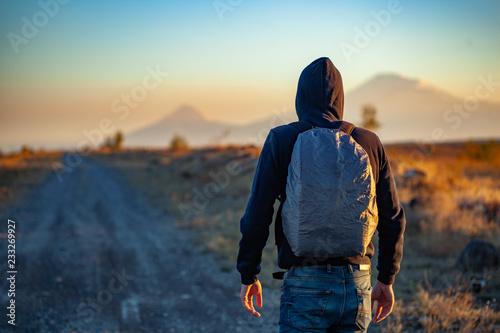Leinwandbild Motiv man in road