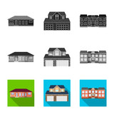 Vector illustration of building and front logo. Collection of building and roof stock vector illustration. - 233272768