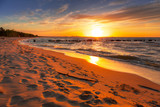 Amazing sunset at Baltic sea beach in Poland - 233278714