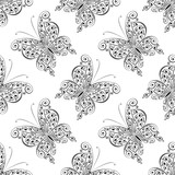 Scrollwork Butterfly Seamless Pattern, Vector Background