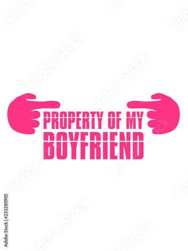 różowy cartoon 2 komiks ręce pokazano fajne Właściwość mojego chłopaka ostrzeżenie uwaga własność przyjaciel dziewczyna para zakochana 2 zespół para śmieszne powiedzenie logo tekst