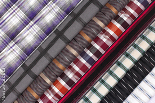 Set different texture cotton colored fabric. Background abstraction of factory textile material.