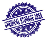 CHEMICAL STORAGE AREA stamp seal watermark with distress style. Blue vector rubber print of CHEMICAL STORAGE AREA caption with dirty texture. - 233288315