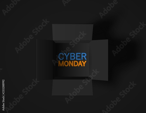 Cyber Monday banner. Top view on realistic black box isolated on dark background. Vector