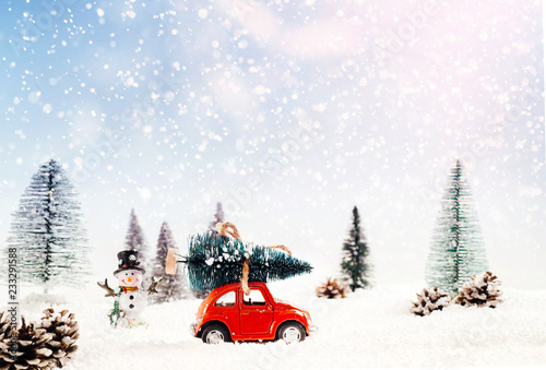 Diecast model car carries the Christmas tree - 233291588