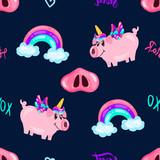 Seamless cute pig unicorn pattern with rainbow and words on dark sky. Baby print. cartoon hand drawn caracter.