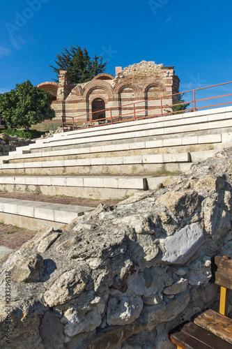 NESSEBAR, BULGARIA - AUGUST 12, 2018: Ruins of Ancient Church of St. John Aliturgetos in the town of Nessebar, Burgas Region, Bulgaria