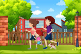 A family running in the park - 233299129