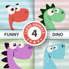 Cute dino illustration. Four items. © HandDraw