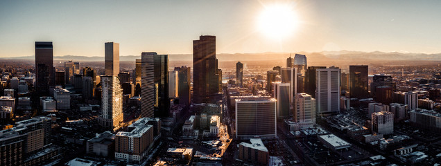 Aerial drone photo - City of Denver Colorado at sunset © nick