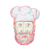 Hipster Baker Cook Chef Head - 233312938