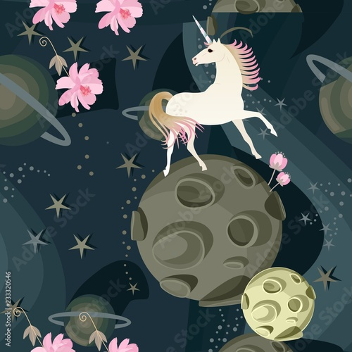 Cute unicorn and delicate pink flowers against a background of space with planets and stars in a vector. Seamless pattern. Prints for fabric, wallpaper.