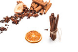 Cinnamon sticks and star anise isolated on white background