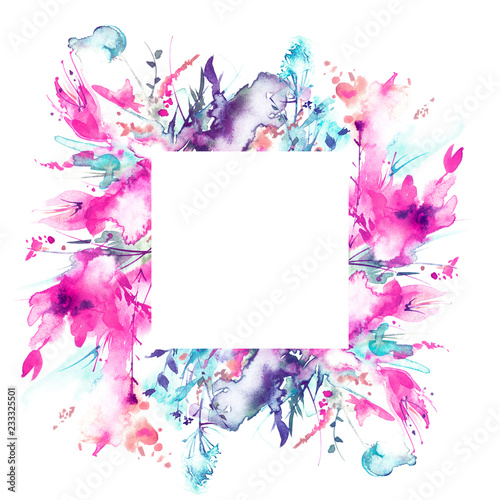 Watercolor bouquet of flowers, Beautiful abstract splash of paint, fashion illustration. Orchid flowers, poppy, cornflower, red gladiolus, peony, rose, garden flowers.Circular element for your design - 233325501