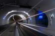 Leinwandbild Motiv Bus driving in a tunnel for public transports, cyclist and pedestrians. Lyon, France.