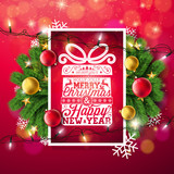 Merry Christmas Illustration with Typography and Holiday Light Garland, Pine Branch, Snowflakes and Ornamental Ball on Red Background. Vector Happy New Year Design. - 233327720