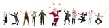 Collage of different professions. Group of men, women in uniform jumping at studio with Santa isolated on white. Full length of people with different occupations. Christmas and holiday concept - 233329542