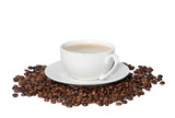 White cup of black coffee with roasted coffee beans - 233330725