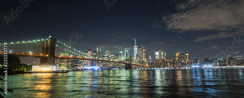 Beautiful Brooklyn Bridge on the background of the night New York cityscape - 233333777