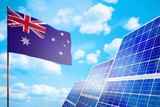 Australia alternative energy, solar energy concept with flag industrial illustration - symbol of fight with global warming, 3D illustration - 233340932