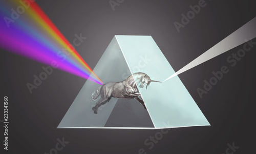 unicorn bending the light in prism © vukkostic