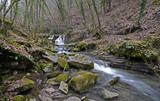 Tuscany, Italy, small creek flows among the mossy stones in a mountain valley near Arezzo on a winter day