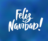 Feliz Navidad - spanish Merry Christmas text. Hand drawn holiday greetings quote on blue background. - 233351765