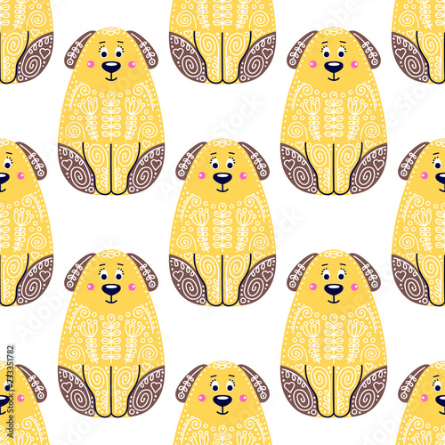 fototapeta na ścianę Vector seamless pattern with cute dogs. Childish background with puppies. On white backdrop. Illustration in flat style with doodle ornament.