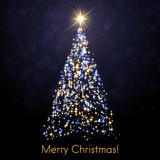 Merry Christmas greeting card with abstract shiny Christmas tree. - 233352166
