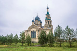 Spassky Cathedral in the village of Kukoboy on an overcast day, Russia. - 233353507