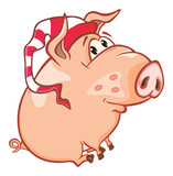 Vector Illustration of a Cute Pig. Cartoon Character. Coloring Book. Outline  - 233355335